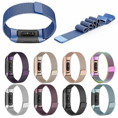 For Fitbit Charge 3 Replacement Magnetic Loop Strap Stainless Steel Wrist Bands