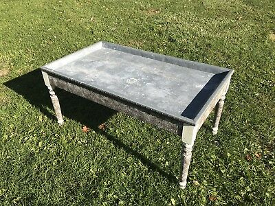 Antique Primitive Early 1900s Zinc Lined Butcher Shop Farm Table w/ Lid & Drawer