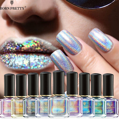 BORN PRETTY Holographic Nail Polish Laser Glitter Nail Art  Varnish 6ml
