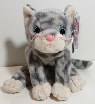 "TY Beanie Babies ""SILVER"" Grey Tabby Kitten Cat - MWMTs! RETIRED! PERFECT GIFT!"