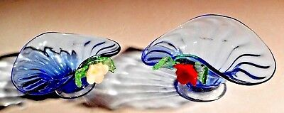 2 Vintage Blue Art Glass hand blown trinket dish Murano Style Bonnet Shaped #34