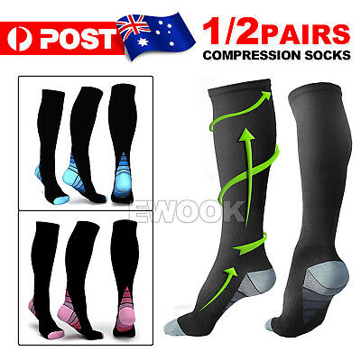 15-30mmHg Medical Compression Socks Support Stockings Travel Flight Socks AU