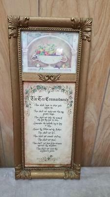 Vintage Home Interiors The Ten Commandments Picture Gold Frame