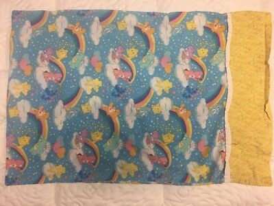 Vintage Care Bears Pillowcase Carebears Swinging With Rainbows 1980s