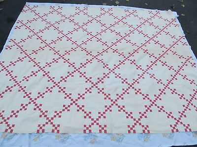 Nice ANTIQUE New England Patchwork Quilt Top, c1900, 9-Patch Pattern, Crafts