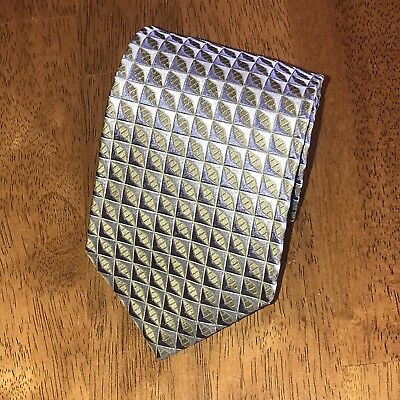 Hugo Boss 100% Silk Mens Tie Made In Italy Silver Blue Gray Geometric