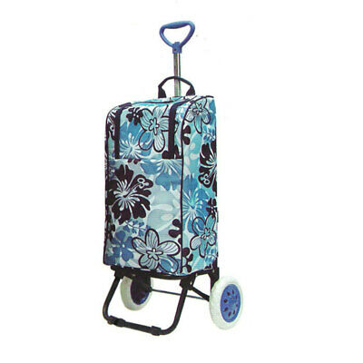 Thermo Cooler Shopping Cart/Trolley Bag Carry Foldable/Insulated Basket - Blue