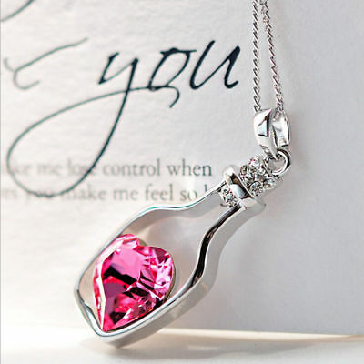 Women's Fashion Jewelry Necklace Love Drift Bottle Wine Pendant Blue Pink 14-4