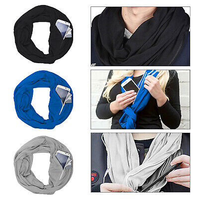 Infinity Scarf with Hidden Zipper Pocket Convertible Journey Scarf Travel Secure
