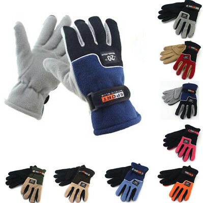 Men Women's Winter Warm Fleece Lined Thermal Windproof Ski Gloves Sport Mittens