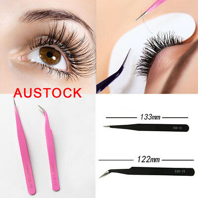 2pcs Eyelash Extension Tweezers Straight & Curved Vetus Black Eyelash Tweezer