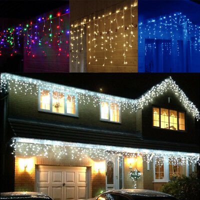 Starry Christmas Lights 5-10M Curtain Icicle Light Outside House Snowing LED 216