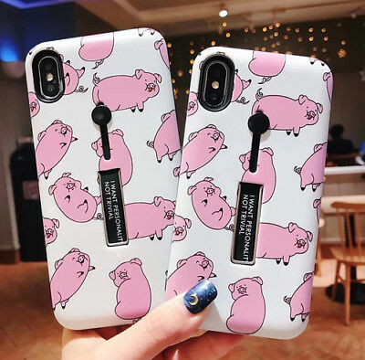 Pink Pig Ring Holder Stand Hybrid Phone Case For iPhone XS MAX XR X 8 7 6s Plus