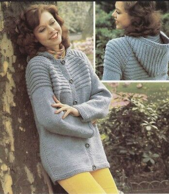 Ladies Knitting Pattern JACKET with Hood CHUNKY (copy)