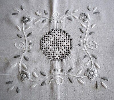 Vintage Embroidered Drawn Threadwork Large White Linen Tablecloth