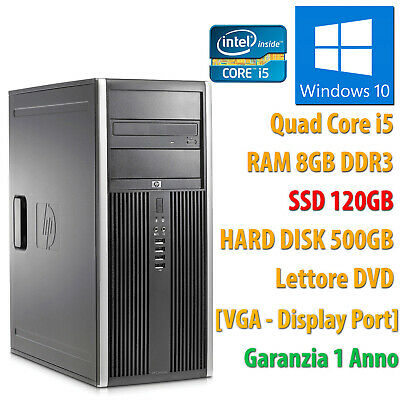 PC COMPUTER DESKTOP RICONDIZIONATO HP QUAD CORE i5 8GB SSD 120GB 500GB WIN 10