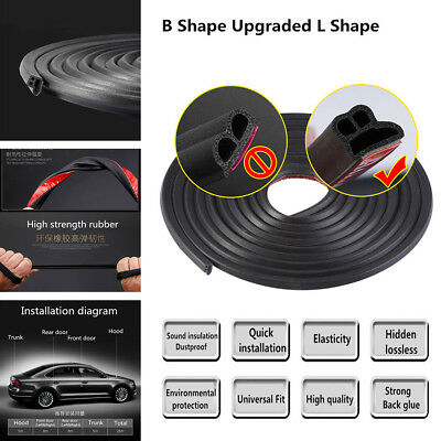 5M Upgraded L Shape Rubber Seal Strip For Car Front Rear Doors & Hood & Trunk