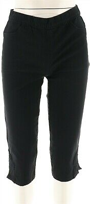 Denim & Co Pull-on Stretch Capri Pants Crochet Black 6 NEW A288103