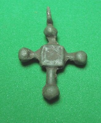 Ancient Bronze Cross 10-13 century Wearable Pendant Antique Rare C91