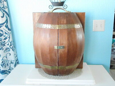 Barrel Portable Travel Mini Bar and Liquor Cabinet Vintage Rare NICE!