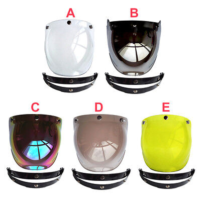3 Button Flip Up Bubble Shield Visor Lens Open Face Motorcycle Helmet FOR Harley