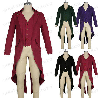 AU Hot Men Victorian Gothic Steampunk Swallow-tailed Coat Swallow Tail Jacket