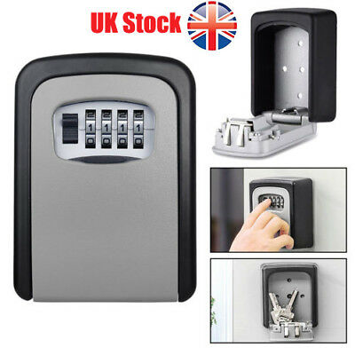 UK 4-Digit High Security Rust Free Wall Mounted Key Safe Box Secure Lock Safety