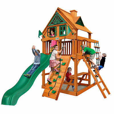 Gorilla Playsets Chateau Clubhouse Swing Set With Wood Roof Malibu