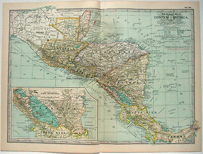 Original 1902 Map of Central America by The Century Company. Antique