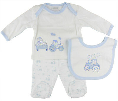 Newborn Baby Boys 3 Piece Clothing Layette Gift Set - Tractor Design