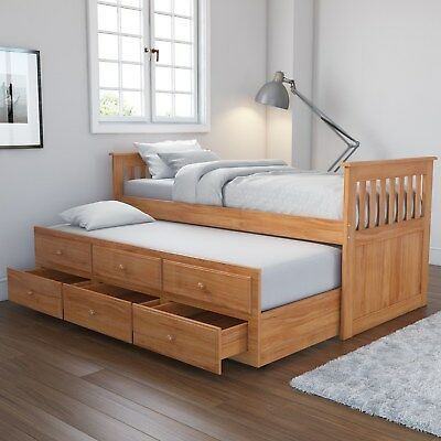 Pine Guest Bed Wood Pull Out Trundle 3 Drawer Storage Single 3ft
