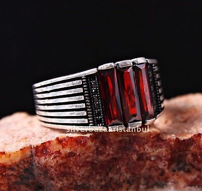 Lux Ruby Stone Turkish Jewelry Handmade 925 Sterling Silver Mens Ring ALL SİZE2