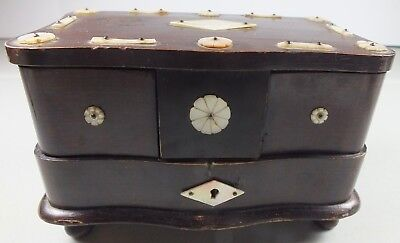 WWII Era Walnut Jewelry / Trinket Box W/ Hand Carved Mother Of Pearl Accents