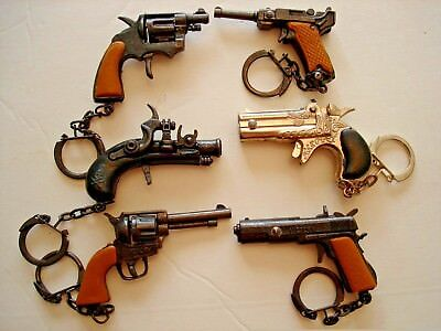 """Keychains 2.5"""" Miniature Toy Cap Lot Of 6 Guns Die Cast. Collectibles"""