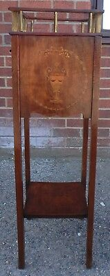 Victorian antique solid mahogany brass inlaid jardiniere planter plant stand