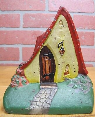 Antique WHIMSICAL COTTAGE House Cast Iron Bookend Doorstop Decorative Art Statue