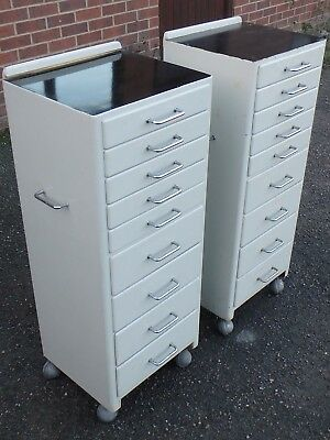 Pair 2 Art Deco black white painted chrome dentist's collector's 9 drawer chests