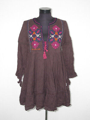 ODD MOLLY Womens Brown EMBROIDERED Dress Size: 2