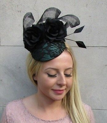 Black Dark Green Rose Flower Feather Pillbox Hat Fascinator Races Hair 6408