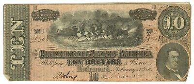 February 17, 1864 $10 Confederate States of America T-68 Seventh Issue 33308