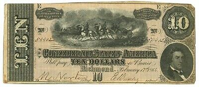 February 17, 1864 $10 Confederate States of America T-68 Seventh Issue 54402