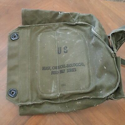 US ARMY GAS Mask Canvas Bag Chemical Biological Field M17 BAG ONLY Hipster #3