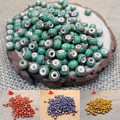 6mm 50x Flower Glaze Ceramics Spacer Beads for DIY Accessories Design Jewelry