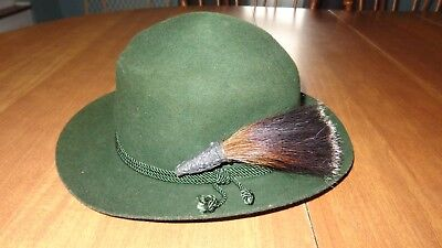 Vintage Original Trachtenhaus German Golimbeck Hat With Stag Horse Hair Pin
