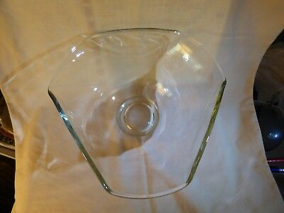 Vintage 1950s-60s Heavy 6 sided Clear Large Bowl Very Mid-Century Modern