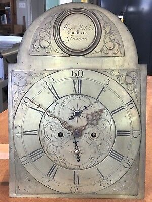 Tall Clock Movement with Engraved Brass Dial: Alex. Mitchel, Gorbals, Glasgow