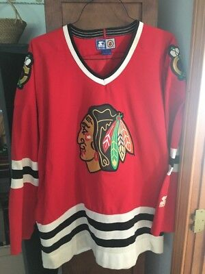 Vtg 90 s Chicago Blackhawks Starter Retro Jersey XL NHL Stitched Red Home  Blank 40518057b