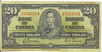 Bank of Canada 1937 $20 Twenty Dollars Gordon-Towers C/E Prefix VF