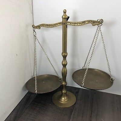 Authentic Vintage Solid Brass Pendulum Scales On Chains Decorative