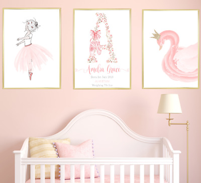 Ballerina Personalised Name Nursery Prints Set Baby Girl Bedroom Art 3 Pictures